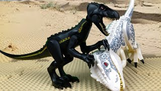 Jurassic World in LEGO 🔴 Indoraptor vs Indominus Rex 🦖