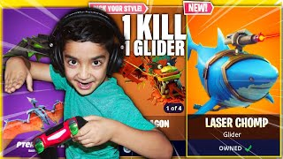 1 KILL = 1 NEW GLIDER CHALLENGE WITH MY 5 YEAR OLD LITTLE BROTHER   KID WINS LEAKED FORTNITE GLIDERS