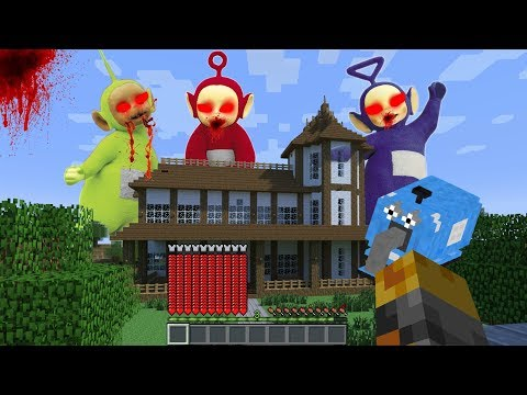 GIANT TELETUBBIES APPEAR IN MY ZOMBIE HOUSE IN MINECRAFT!! SURVIVAL OF THE CREATURES!! Minecraft