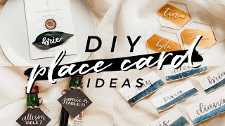 5 EASY DIY Place Card Ideas | Unique Wedding Decor, Cricut Projects, Clear Acrylic Coaster Favor