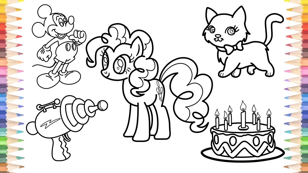 How to Draw My Little Pony Mickey Mouse Water Gun Cute Cat Birthday Cake Coloring Pages for Kids
