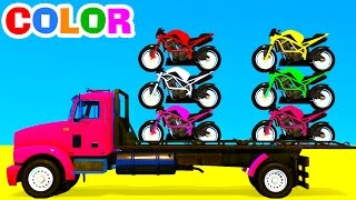 Color Motorcycles on Truck in Spiderman Cartoon 3D w Superheroes for Kids Colors Video