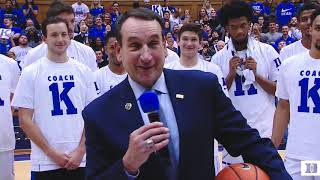 Post-Game Ceremony: Coach K's 1000th Win at Duke (11/11/17) - dooclip.me