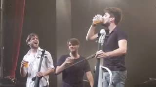 2CELLOS Brussels, 2016-05-31 Luka Sulic and his beer.