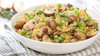 One Pot Mushroom Orzo | Quick + Healthy Weeknight Dinner Recipes