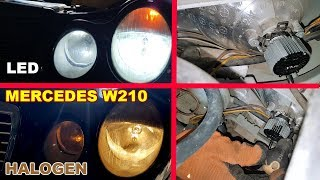 How to install LED bulbs H7 in Dipped Beam on Mercedes W210 / Installation LED H7 6500K on Mercedes