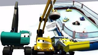 Turma da Construção 🔨 Caminhão basculante, guindaste e máquina escavadora constroem pista patinação