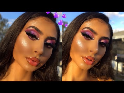 PURPLE GALAXY HALF CUT CREASE MAKEUP TUTORIAL
