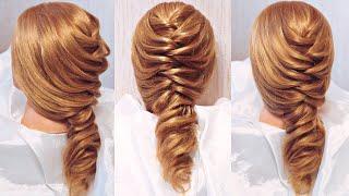 Смотреть онлайн Прическа на длинные волосы: коса со жгутами