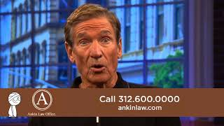 Maury Povich and Howard Ankin in an ad for the Chicago Injury Lawyers at Ankin Law Office LLC