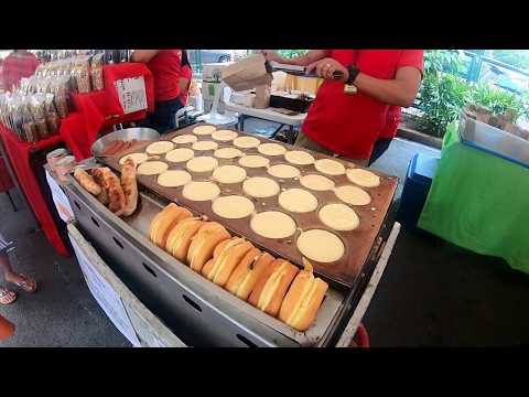 Making Japanese Pancakes and Stuffed Bread Sticks - Philippines Street Food