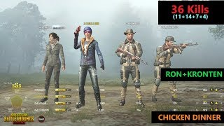"[Hindi] PUBG Mobile | ""36 Kills"" RON+Kronten Amazing Game Chicken Dinner"