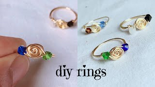 Simple Wire Rings/wire Wrapped Rose Ring Making/diy Rings/wire Wrapped Crystal Rings For Beginners
