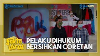 Diviralkan Wali Kota, 2 Pelaku Vandalisme Ditangkap, Dihukum Bersihkan Coretan di Tugu Pangkalpinang