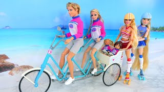 Doll Family Go on Picnic to Beach / Roller Skating Dolls Piquenique Boneka Strand Pique-nique النزهة