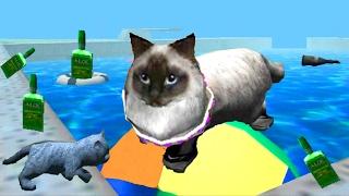 Играем в СИМУЛЯТОР КОТА 🐱🐱🐱 #10 Кот около бассейна мульт-игра про котят развлекательное видео