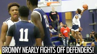 BRONNY JAMES NEARLY FIGHTS OFF DEFENDERS! Throws Down CRAZY DUNKS In Game!