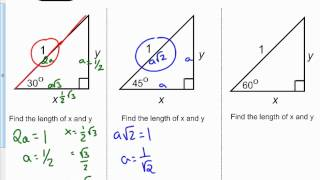 Trig Functions - 30, 60, 60 & 45, 45, 90 Degree Trigangles