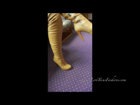 LeviTicus Fashions Caramel Creme Leather Thigh Boots
