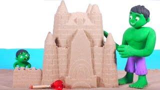 HULK MAKES A GIANT SAND CASTLE ❤ Spiderman, Hulk & Frozen Elsa Play Doh Cartoons For Kids