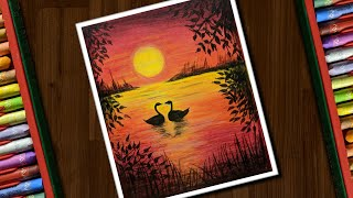 Beautiful Sunset Scenery with Oil Pastels - step by step