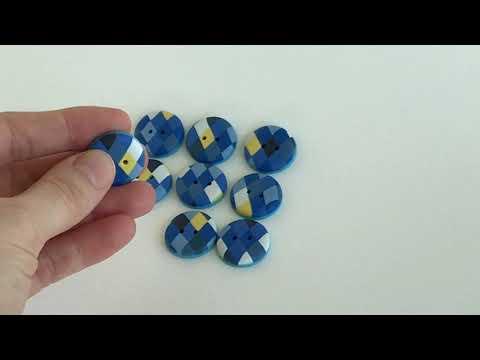 "20 mm – 9 vnt. Mėlynos rankų darbo sagos ""Rombų ornamentas"" (BT262)"