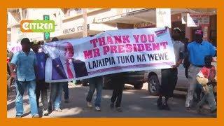 A section of Laikipia residents celebrate the sacking of Kiunjuri
