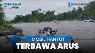 Detik-detik Mobil Pajero Nekat Terobos Sungai Malah Hanyut Terbawa Arus