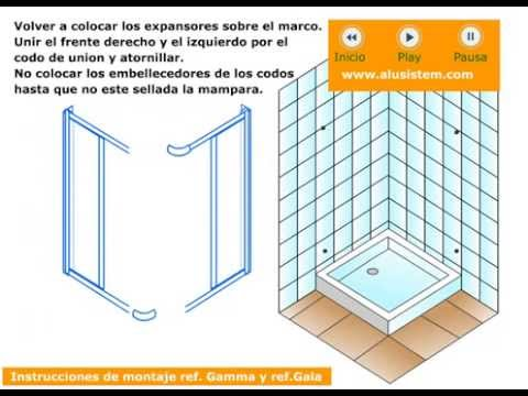 Mamparas de ducha angular de apertura por la esquina