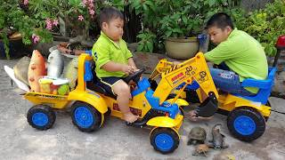 Trò Chơi Xe Máy Xúc – Máy Đào Chở Cá ❤ ChiChi ToysReview TV ❤ Đồ Chơi Trẻ Em Baby Fish Song