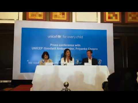 Priyanka Chopra Talks for Rohingya Childrean in a press conference at Hotel Le Meridiana in Dhaka