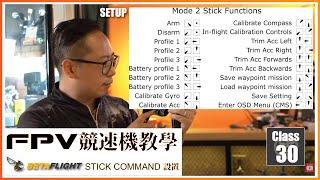 99 FPV 穿越機 教學課程 Lesson 30 Betaflight RC Stick Command 穿越機 遙控器 Stick Command 轉圖傳秘技 廣東話 無人機