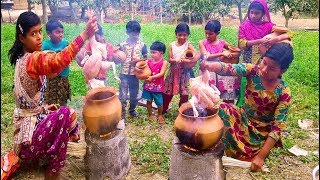 Hari Chicken Curry - Traditional Pottery Pot Chicken Cooking By 5-12 Years Old Village Kids