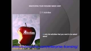 Resume Skills Training- Resume Writing Tutorial - Activities Lesson