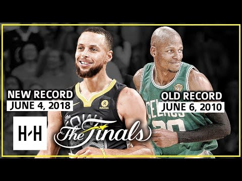 Stephen Curry NEW 2018 Finals Record vs Ray Allen Old 2010 Finals Record - Who's Better?