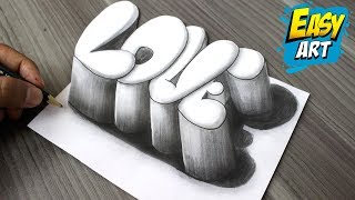 Super Facil ► How to Draw 3D LOVE │Como Dibujar Amor 3D  │Dibujos de Amor 3D
