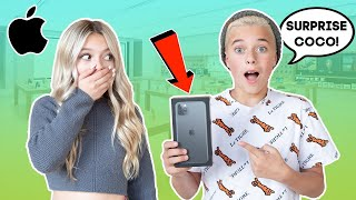 Surprising Crush With A NEW iPhone 11 **EMOTIONAL** ❤️📱   Gavin Magnus ft. Coco Quinn