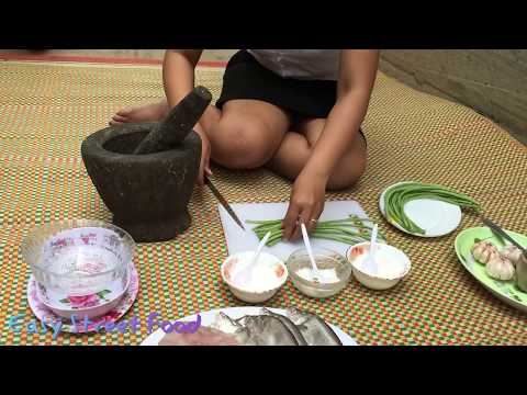 Beautiful Girl Fried Fish with flour and​ Long Bean-Fish Recipes-Favorite Food in My Village