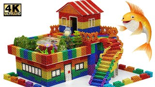 Build Modern House with Garden and Swimming Pool From Magnetic Balls (Satisfying)   Magnet World