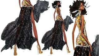 GOLD SEQUINS And SEE THROUGH  FABRIC / FASHION ILLUSTRATION