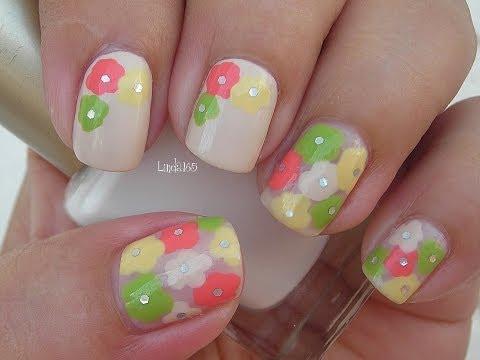 Nail Art - Think Spring Flowers - Decoracion de Uñas