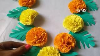 DIY crape paper garland making, How to make simple garland using crepe paper ,DIY ,marigold toran