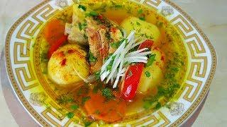 Шурпа из свиных рёбрышек, по-цыгански. Мясной бульон. Gipsy cuisine.