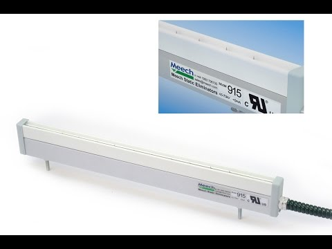 Video of shockless anti static bar with power unit for static control