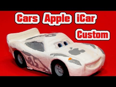 Pixar Cars Apple ICar Primer Lightning McQueen Diecast Painted As The Apple ICar