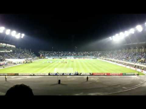 """""""RECIBIMIENTO O'HIGGINS DE RANCAGUA vs Lanus Copa Libertadores 2014 (HD)"""" Barra: Trinchera Celeste • Club: O'Higgins"""