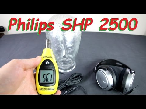Philips SHP2500 headphone unboxing + sound dB test