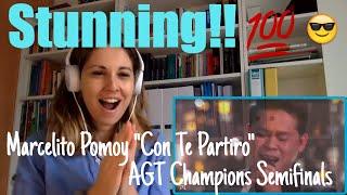 "Marcelito Pomoy ""Con te partiro"" AGT Champions (Video Reaction)"