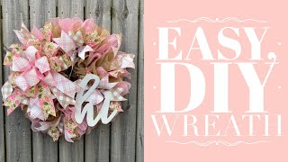 How To Make An Easy Mesh Wreath / Ruffled Wreath Tutorial / How To Make A Bow By Hand