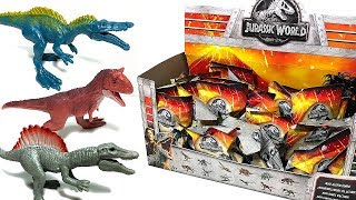 A BOX OF NEW JURASSIC WORLD MINI ACTION DINOSAUR TOYS for kids! Fallen Kingdom Indoraptor